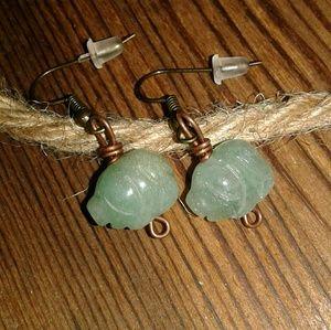 💟5 FOR $25💟LADIES Little Piggy Agate Earrings